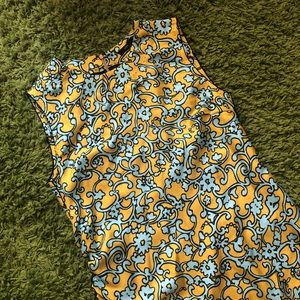 Marc Jacobs silk yellow blue pattern dress